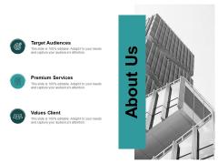 About Us Target Audiences Ppt PowerPoint Presentation Portfolio Introduction