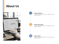 About Us Value Clients Ppt PowerPoint Presentation Inspiration Skills