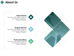 About Us Valued Clients Target Audiences Ppt PowerPoint Presentation Portfolio Master Slide
