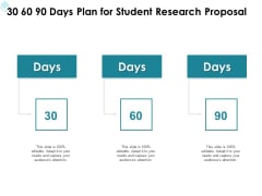 Academic Investigation 30 60 90 Days Plan For Student Research Proposal Ppt Outline Show PDF