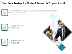 Academic Investigation Literature Review For Student Research Proposal Ppt Outline Template PDF