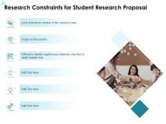 Academic Investigation Research Constraints For Student Research Proposal Ppt Infographic Template Icons PDF