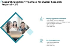 Academic Investigation Research Question Hypothesis For Student Research Proposal Primary Ppt Slides Example PDF