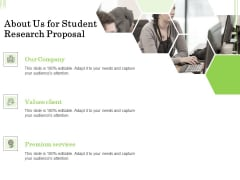 Academic Study About Us For Student Research Proposal Ppt Slides Sample PDF