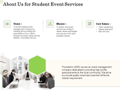 Academic Study Proposal About Us For Student Event Services Ppt Styles Icon PDF