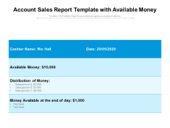 Account Sales Report Template With Available Money Ppt PowerPoint Presentation File Graphics Template PDF
