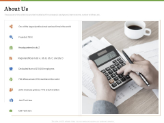 Accounting Advisory Services For Organization About Us Ppt PowerPoint Presentation Pictures Icon PDF