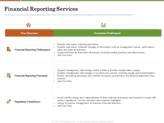 Accounting Advisory Services For Organization Financial Reporting Services Ppt PowerPoint Presentation Outline Portrait PDF