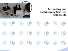 Accounting And Bookkeeping Services Icons Slide Ppt Styles Background PDF