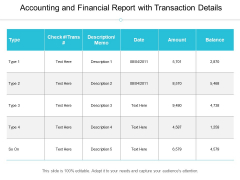Accounting And Financial Report With Transaction Details Ppt PowerPoint Presentation File Visuals