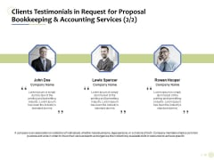 Accounting And Tax Services Clients Testimonials In Request For Bookkeeping And Accounting Services Rules PDF