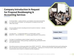 Accounting And Tax Services Company Introduction In Request For Bookkeeping And Accounting Services Sample PDF