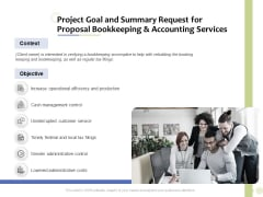 Accounting And Tax Services Project Goal And Summary Request For Bookkeeping And Accounting Services Summary PDF