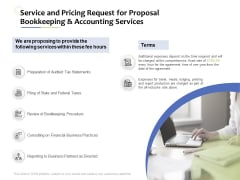 Accounting And Tax Services Service And Pricing Request For Bookkeeping And Accounting Services Ideas PDF