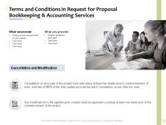 Accounting And Tax Services Terms And Conditions In Request For Bookkeeping And Accounting Services Summary PDF