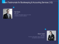 Accounting Bookkeeping Service Client Testimonials For Bookkeeping And Accounting Services Ideas PDF