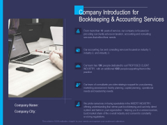 Accounting Bookkeeping Service Company Introduction For Bookkeeping And Accounting Services Designs PDF