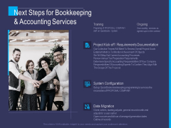 Accounting Bookkeeping Service Next Steps For Bookkeeping And Accounting Services Background PDF