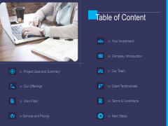 Accounting Bookkeeping Service Table Of Content Ppt Inspiration Design Templates PDF