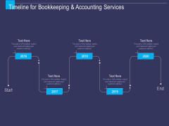 Accounting Bookkeeping Service Timeline For Bookkeeping And Accounting Services Ppt Ideas Graphics Download PDF
