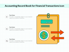 Accounting Record Book For Financial Transactions Icon Ppt PowerPoint Presentation Slides Layouts PDF