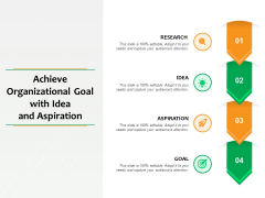 Achieve Organizational Goal With Idea And Aspiration Ppt PowerPoint Presentation Layouts Icons PDF