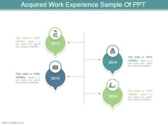 Acquired Work Experience Sample Of Ppt