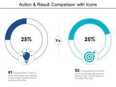 Action And Result Comparison With Icons Ppt PowerPoint Presentation Summary Slide Portrait