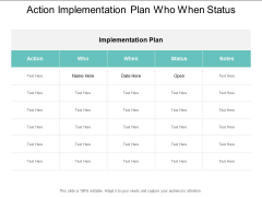 Action Implementation Plan Who When Status Ppt Powerpoint Presentation Model Background Image