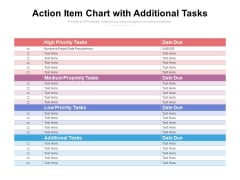 Action Item Chart With Additional Tasks Ppt PowerPoint Presentation Styles Visuals PDF