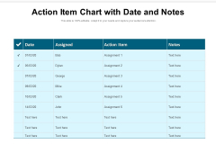 Action Item Chart With Date And Notes Ppt PowerPoint Presentation Ideas Microsoft PDF
