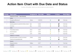 Action Item Chart With Due Date And Status Ppt PowerPoint Presentation Ideas Format Ideas PDF