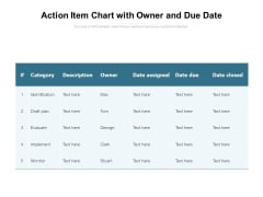 Action Item Chart With Owner And Due Date Ppt PowerPoint Presentation Ideas Slide Portrait PDF