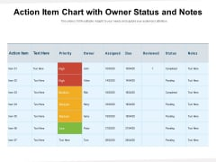Action Item Chart With Owner Status And Notes Ppt PowerPoint Presentation Styles Brochure PDF