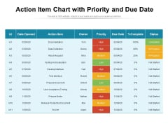 Action Item Chart With Priority And Due Date Ppt PowerPoint Presentation Inspiration Slides PDF