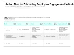 Action Plan For Enhancing Employee Engagement In Business Ppt PowerPoint Presentation Gallery Icon PDF