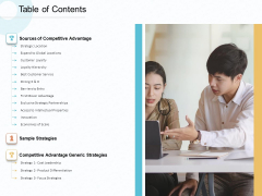 Action Plan Gain Competitive Advantage Table Of Contents Ppt File Layouts PDF