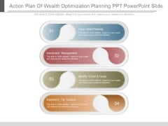 Action Plan Of Wealth Optimization Planning Ppt Powerpoint Slide