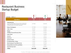 Action Plan Or Hospitality Industry Restaurant Business Startup Budget Sample PDF