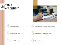 Action Plan Or Hospitality Industry Table Of Content Topics PDF
