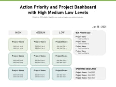 Action Priority And Project Dashboard With High Medium Low Levels Ppt PowerPoint Presentation File Graphic Images PDF