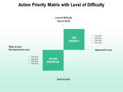 Action Priority Matrix With Level Of Difficulty Ppt PowerPoint Presentation Infographics File Formats