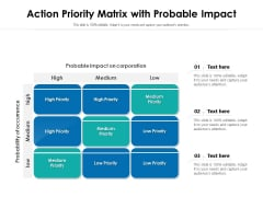 Action Priority Matrix With Probable Impact Ppt PowerPoint Presentation Gallery Format Ideas PDF