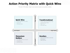 Action Priority Matrix With Quick Wins Ppt PowerPoint Presentation Slides Show PDF