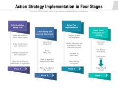 Action Strategy Implementation In Four Stages Ppt PowerPoint Presentation Portfolio Inspiration PDF