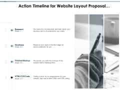 Action Timeline For Website Layout Proposal Planning Ppt PowerPoint Presentation Layouts Layout Ideas