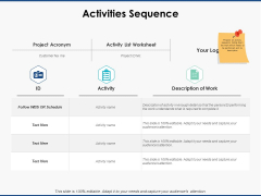 Activities Sequence Management Ppt PowerPoint Presentation Show Layout