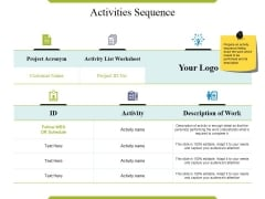 Activities Sequence Ppt PowerPoint Presentation Inspiration Deck