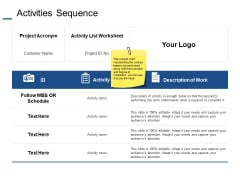 Activities Sequence Ppt PowerPoint Presentation Slides Deck
