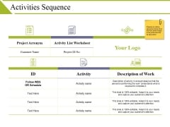 Activities Sequence Ppt PowerPoint Presentation Styles Guide